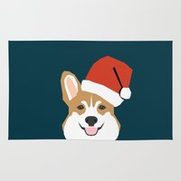 doge Area & Throw Rugs featuring Corgi Christmas  santa claus costume for cute welsh corgi pet dog lover gift for the corgi person by PetFriendly