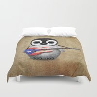 puerto rico Duvet Covers featuring Baby Penguin Playing Puerto Rican Flag Guitar by Jeff Bartels