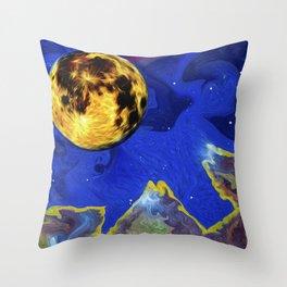 Full Moon on an Alien Horizon. Throw Pillow