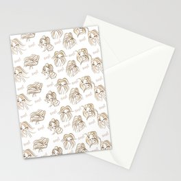 Hey pattern with girls Stationery Cards