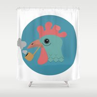 cock Shower Curtains featuring Smoking Cock by Sebastian Moll