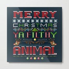 merry christmas ya filthy animal v2 Metal Print