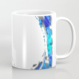White And Blue Abstract Art - Swirling 4 - Sharon Cummings Coffee Mug
