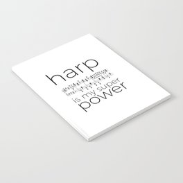 Harp is my super power (2) (white) Notebook