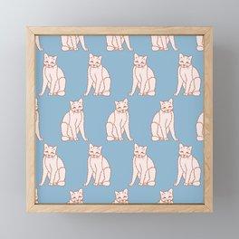 Cute Smiling Cat Pattern Framed Mini Art Print