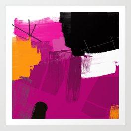 Purple abstract painting F06 pink black orange Digital painting Art Print