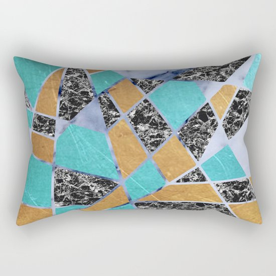 Abstract #444 Marble & Jade Rectangular Pillow