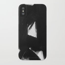 No. 92 - Modern abstract black and white textured painting iPhone Case