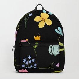 Tiny Flower pattern - BLACK Backpack