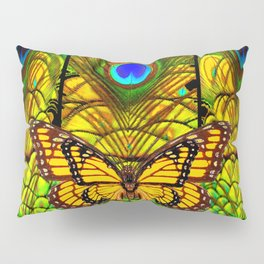 FANTASY YELLOW MONARCH BUTTERFLY PEACOCK FEATHER ART Pillow Sham