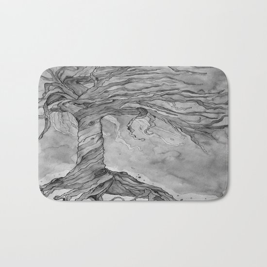Tree of Life (Grey Scale) Bath Mat