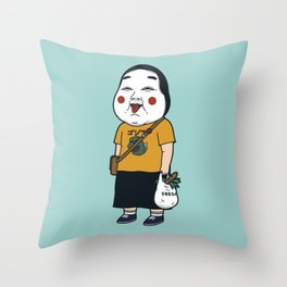 Joyful Girl Throw Pillow
