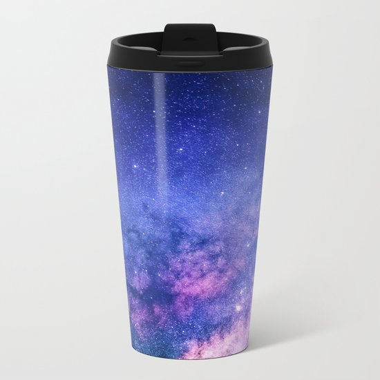 Blue Purple Night Sky, Universe, Galaxy Metal Travel Mug