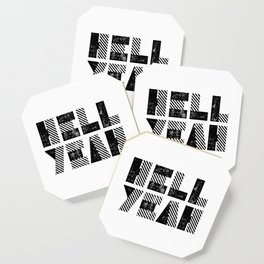Hell Yeah motivational black and white yeh modern typographic quote poster canvas wall home decor Coaster