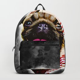 happy pug vector art Backpack