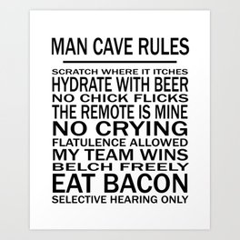 Man Cave Rules for Man Cave or Office Art Print