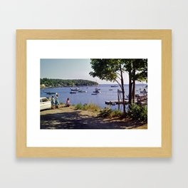 Marion Village in Rockport - Camden, Maine in the early 1960's, Retro Harbor Framed Art Print