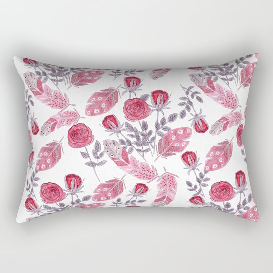 Watercolor . Floral pattern with bird feather .1 Rectangular Pillow