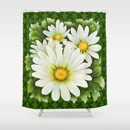 Daisies On Vintage Green Shower Curtain