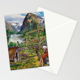 Alpine Lake Landscape, 'Girl, Springtime & Marigolds' by Nikolai Astrup Stationery Cards