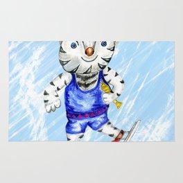 Sporty White Tiger Skating Rug