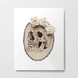 Floral Wood Burned Skull Metal Print