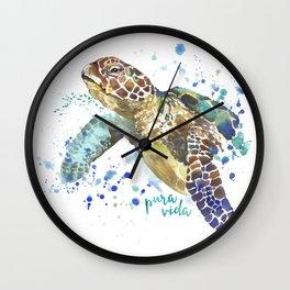Sea Turtle Pura Vida Watercolor Wall Clock