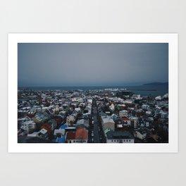 Icelandic City Leading Into the Sea Art Print