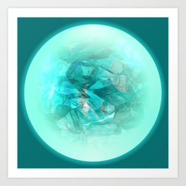 Chrystal Glow Blue Abstract Art Print