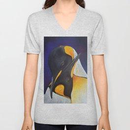 Penguins, acrylic on canvas Unisex V-Neck