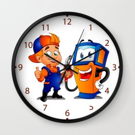 Serviceman with gas pump Wall Clock