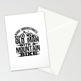Never Underestimate An Old Man with a Mountain Bike Stationery Cards