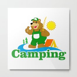 Cartoon Brown Bear camping Metal Print