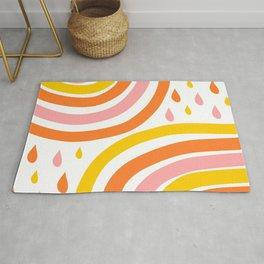 🤍, Abstract Art, Summer Rainbows and Raindrops, Pink, Yellow, Orange Rug