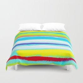 Ocean Blue Summer blue abstract painting stripes pattern beach tropical holiday california hawaii Duvet Cover