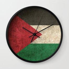 Old and Worn Distressed Vintage Flag of Palestine Wall Clock
