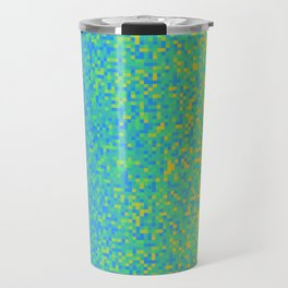Blue Lime Yellow Pixilated Gradient Travel Mug