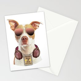 Cool music dog with Access All Areas Stationery Cards