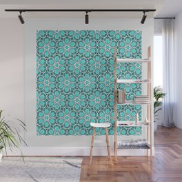 Symmetrical Flower Pattern in Turquoise Wall Mural
