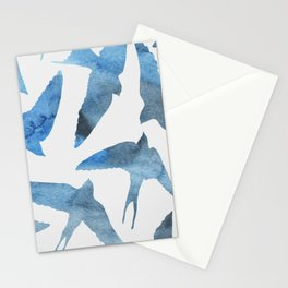 Watercolor birds - sapphire ink Stationery Cards