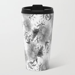 Modern gray white watercolor elegant floral Travel Mug