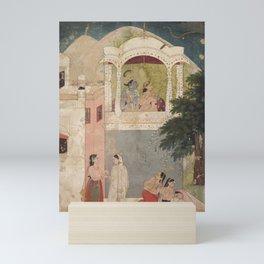 Radha and Krishna Seated on a Balcony - 18th Century Classical Hindu Art Mini Art Print
