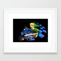 mario kart Framed Art Prints featuring Mario Kart 8 - Link on the Mastercycle by brit eddy
