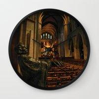 patrick Wall Clocks featuring saint patrick by Lisa Carpenter