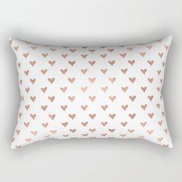 Rose Gold Hearts Rectangular Pillow
