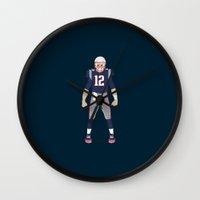 patriots Wall Clocks featuring Pats - Tom Brady by IllSports