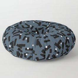 Confetti Party Blue Dark Stripes White Dots Floor Pillow
