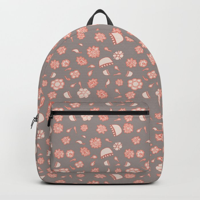 floral black and red Backpack