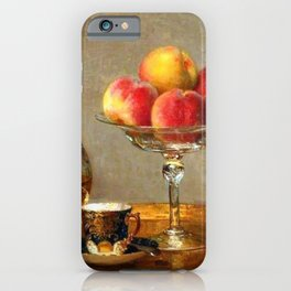 Refreshments, Cognac, a Rose, and Peaches still life by Emma Magnus for kitchen or dinning room iPhone Case