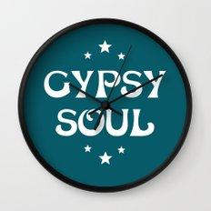 Gypsy Soul Mystical Stars Teal Wall Clock